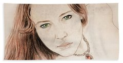 Beach Towel featuring the drawing Red Hair And Freckled Beauty by Jim Fitzpatrick