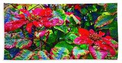 Red Hawaiian Poinsettias In Puna Beach Towel