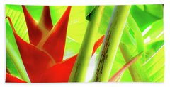 Red Heliconia Beach Towel