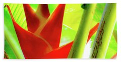 Red Heliconia Plant Beach Towel