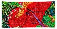 Red Hibiscus Aslant Beach Towel