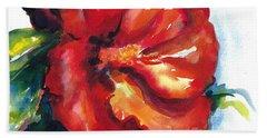 Fireball Red Hibiscus Beach Sheet