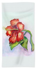 Red Hibiscus Beach Towel
