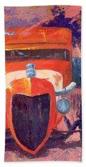 Red Hot Rod Sedan Beach Towel
