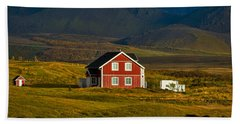 Red House And Horses - Iceland Beach Sheet by Stuart Litoff