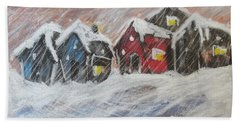 Red House In The Snow Beach Towel