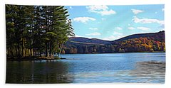 Red House Lake Allegany State Park In Autumn Expressionistic Effect Beach Towel