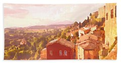 Red House On A Hill Beach Towel