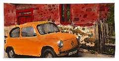 Red House With Orange Car Beach Sheet