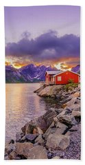Red Hut In A Midnight Sun Beach Towel by Dmytro Korol