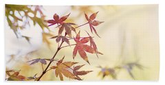 Red Japanese Maple Leaves Beach Sheet