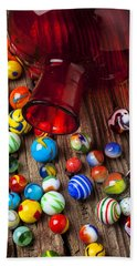 Red Jar With Marbles Beach Towel