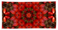 Red Kaleidoscope No. 1 Beach Sheet by Lyle Hatch