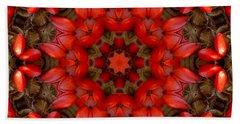 Red Kaleidoscope No. 1 Beach Sheet
