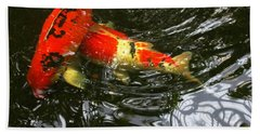 Red Koi Fish Beach Towel