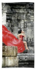 Red Lady At Candi Sewu Beach Towel