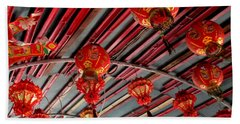Beach Towel featuring the photograph Red Lanterns 1 by Randall Weidner