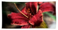 Beach Towel featuring the photograph Red Lilly by Michaela Preston