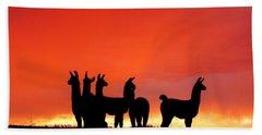 Red Llama Sunset 1 Beach Towel