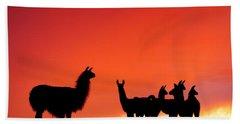 Red Llama Sunset 2 Beach Towel