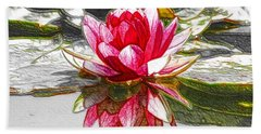 Red Lotus Flower Beach Sheet by Lanjee Chee