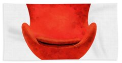 Red Mid Century Modern Chair Beach Sheet by Edward Fielding