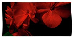 Red  Midnight Magic Flowers Beach Towel