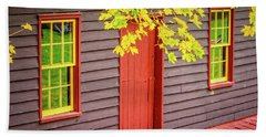 Red Mill Door In Fall Beach Towel