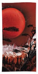 Beach Towel featuring the painting Red Moon by Jason Girard