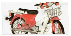 Red Motor Bike Beach Towel