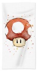 Red Mushroom Watercolor Beach Towel