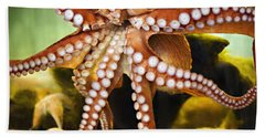 Red Octopus Beach Sheet by Marilyn Hunt