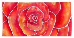 Beach Towel featuring the painting Red-orange Rose Macro by Kristen Fox