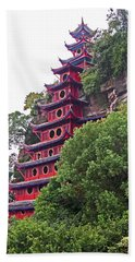 Red Pagoda Beach Towel