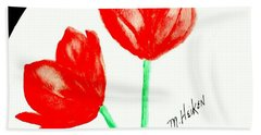 Red Painted Tulips Beach Sheet