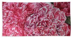 Red Peonies Beach Towel