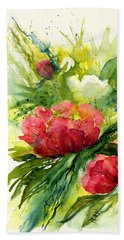 Red And White Peony Flowers Beach Towel