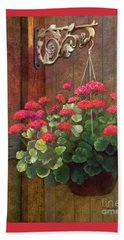Beach Towel featuring the painting Red Petals Geraniums by Nancy Lee Moran