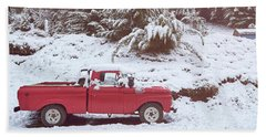 Beach Towel featuring the photograph Red Pickup Truck On The Snow by Eduardo Jose Accorinti