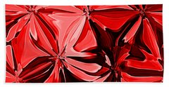 Red Pinched And Gathered Beach Towel
