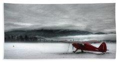 Red Plane In A Monochrome World Beach Sheet