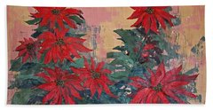 Red Poinsettias By George Wood Beach Sheet