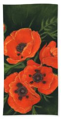Beach Sheet featuring the painting Red Poppies by Anastasiya Malakhova