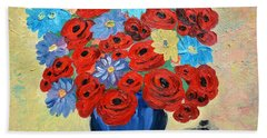Red Poppies And All Kinds Of Daisies  Beach Sheet by Ramona Matei