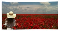 Red Poppies And Lady Beach Sheet