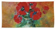 Red Poppies In A Vase Beach Towel