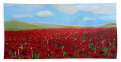 Red Poppies In Remembrance Beach Sheet