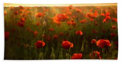 Red Poppies In The Sun Beach Sheet