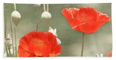 Red Poppies Beach Towel by Kim Hojnacki