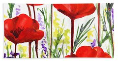 Red Poppies Watercolor By Irina Sztukowski Beach Towel by Irina Sztukowski